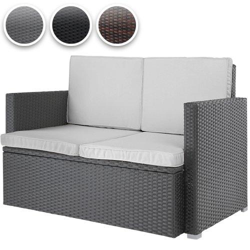 Polyrattan Sofa Loungesofa Gartensofa Polyrattansofa mit gemütlichen Sitzkisten 117x65x75cm in 3 verschiedenen Farben