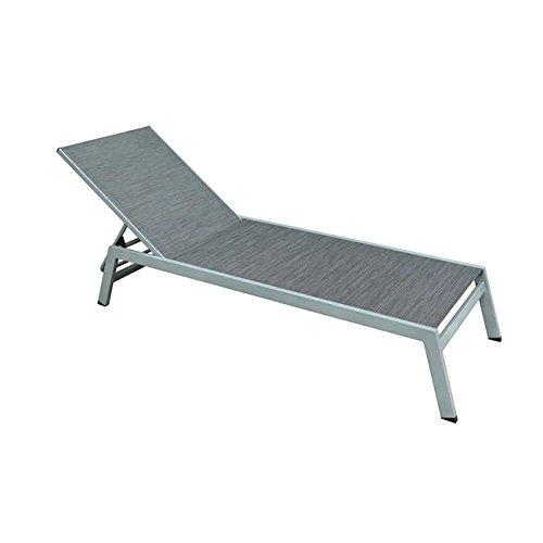 Premium Sonnenliege Alu OUTLIV. Cres Gartenliege verstellbar Aluminium/Textil Silber/Anthrazit Terrassenliege Balkonliege wetterfest