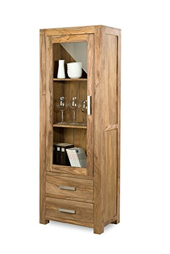 Quadrato - Vitrine INDO, Holz Sheesham natur, Maße: B 65 x H 185 x T 40 cm