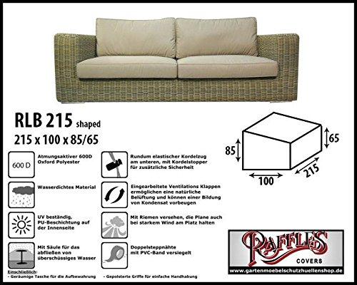 RLB215shaped Wetterschutz für Lounge Bank, Gartensofa oder Lounge Sofa, 2 - 3 Sitzer, passt am besten am Sofa von max. 210 x 95 cm. Schutzhüllen für Bank, Schutzhülle für Lounge Bänke, Abdeckhaube Schutzhülle Schutz-Plane für gartenbank gartensofa
