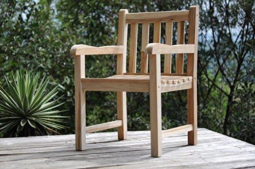 SAM® Teak-Holz Gartensessel Caracas, Gartenstuhl, Sessel mit Armlehnen, aus Massivholz, ideal für Balkon, Terrasse oder Garten, angenehmer Sitzkomfort [53263261]