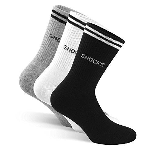 SNOCKS Damen & Herren Retro Socken Streifen (4 Paar) Gr. 35 - 50 (Farben: Schwarz, Weiß, Grau) - Baumwolle