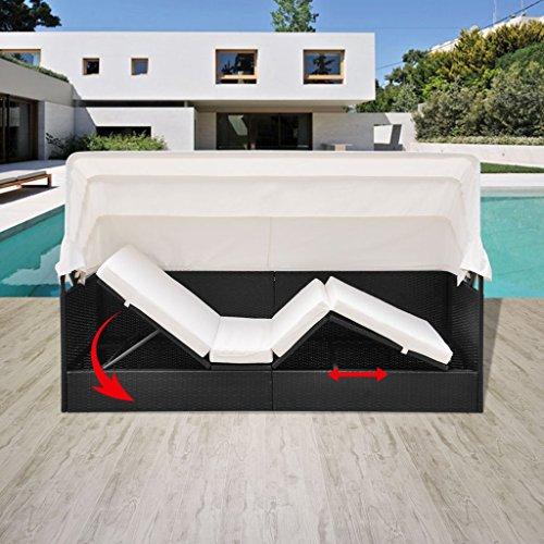 SSITG Poly Rattan Sonnenliege Loungeliege Gartenliege Relaxliege + Dach