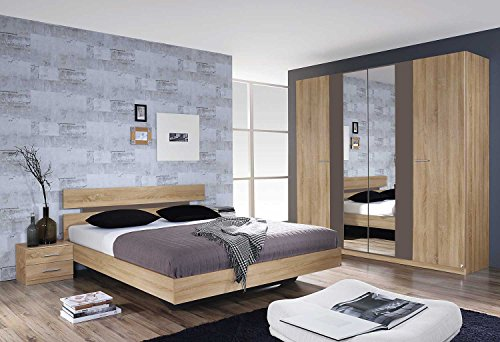 Schlafzimmer, Schlafzimmermöbel, Set, komplett, Komplettset, Schlafzimmereinrichtung, komplettangebot, Einrichtung, 3-teilig, Eiche sonoma, Rauch