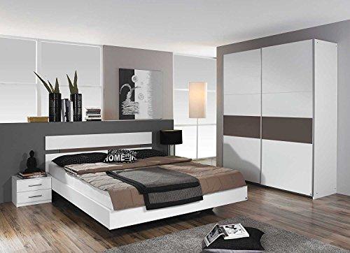 Schlafzimmer, Schlafzimmermöbel, Set, komplett, Komplettset, Schlafzimmereinrichtung, komplettangebot, Einrichtung, 3-teilig, weiß, lava grau, Rauch