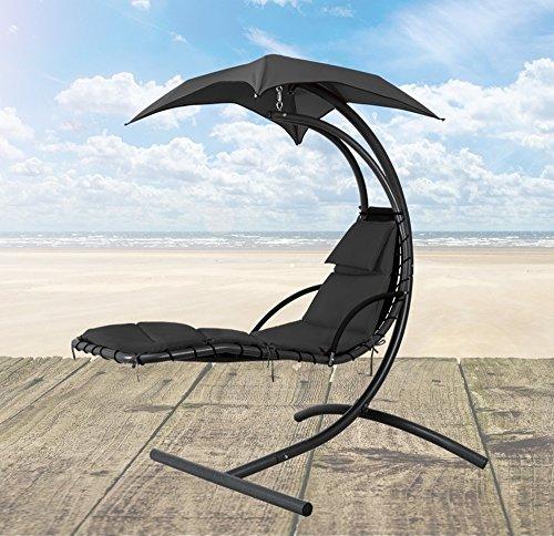 Schwebeliege mit Sonnendach Samoa Gartenliege Sonnenliege Hängeliege Hängesessel Loungesessel Loungeliege Relaxliege schwarz