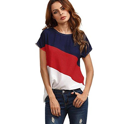 Shirt DELLIN Frauen Farbblock Chiffon Kurzarm Casual Bluse Shirts Tunika Tops