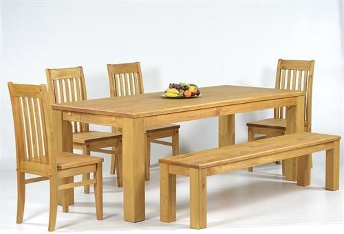 Sitzgruppe Garnitur mit Esstisch 140x90cm + 4 Stühle Klassic + 1 Bank 140x38cm Pinie Massivholz, geölt und gewachst, Farbton Honig