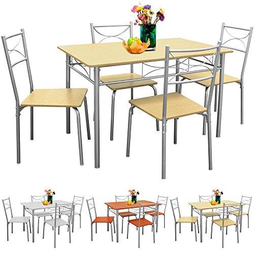 Sitzgruppe für Esszimmer / Küche 5 tlg - 4 Stühle & 1 Tisch - Sitzgruppe Essgruppe Esstischgruppe Balkonmöbel Balkon Sitzgruppe - Farbauswahl
