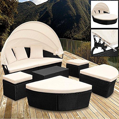 Sonneninsel Poly Rattan oval 226cm schwarz mit Sonnendach Lounge