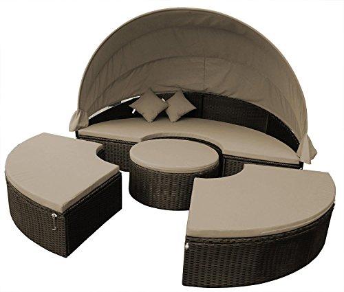 Sonneninsel aus Rattan in Braun mit klappbaren Dach, Loungeliege besteht aus 4 Teilen mit Auflagen, Gartenliege für richtigen Sommerspaß kaufen