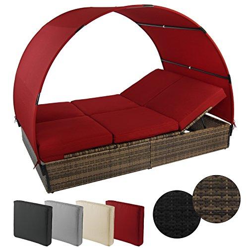 Sonnenliege MOSAMBIK Polyrattan Doppelbett 200 x 140 cm mit Sonnendach Sitzpolster mit abnehmbaren Bezügen Rücken- sowie Fußelemente 5-fach höhenverstellbar