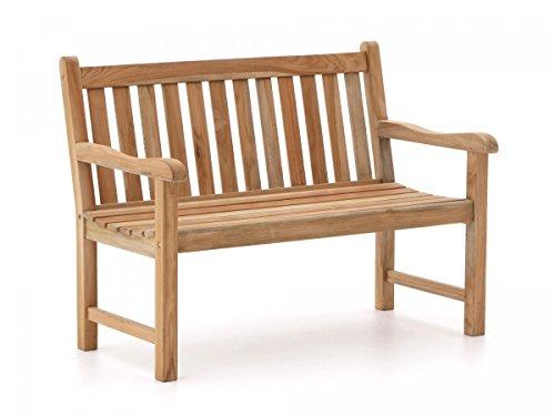 Stabile Gartenbank Sunyard Wales aus massivem, unbehandeltem Holz, Teakholz 2-Sitzer 120 cm, 3-Sitzer 150 cm