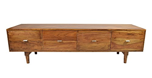 TV-Board Massivholz Sideboard Sheesham Authentic Memory Retro Mid Century Design 150 CM 4 Schub