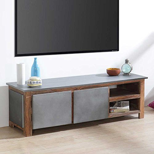 TV Board aus Sheesham Massivholz Aluminium Pharao24