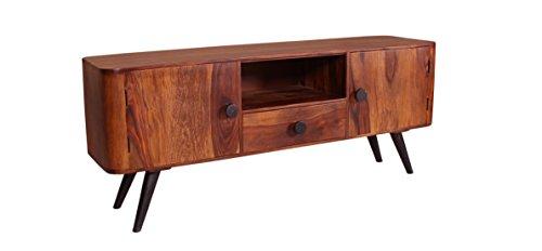 TV-Board natur aus Sheesham-Holz mit 2 Türen, 1 Schublade und 1 offenen Fach 160x40x55 cm | Nub | Side-Board mit Metallbeinen in antik-schwarz 160cm x 40cm x 55cm