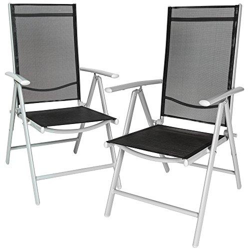 TecTake Aluminium Klappstuhl Gartenstuhl Set verstellbar mit Armlehnen - diverse Farben und Mengen -