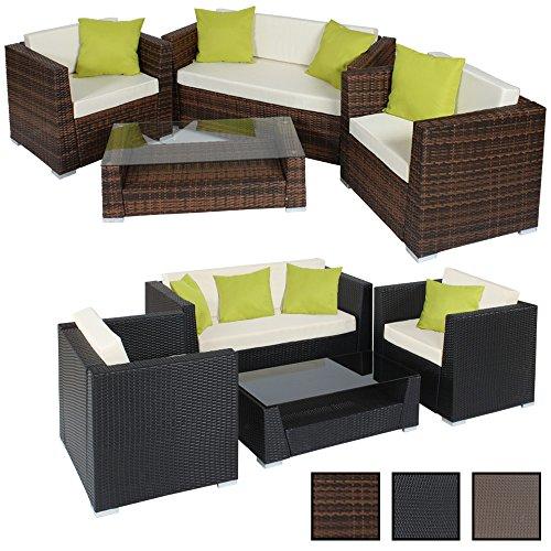 TecTake Hochwertige Alu Luxus Lounge Set Poly-Rattan Sitzgruppe Gartenmöbel mit 4 extra Kissen -diverse Farben-