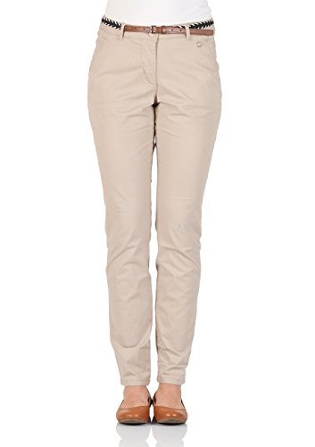 Tom Tailor Damen Chino Hose mit Gürtel - Beige - Dusty Taupe