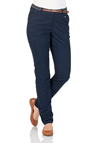 Tom Tailor Damen Chino Hose mit Gürtel - Blau - Real Navy Blue
