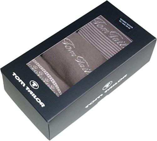 Tom Tailor Damen Socken // 3 Paar in Geschenkbox // hellbraun + mehr (676)