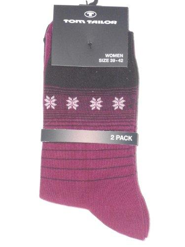 Tom Tailor Damensocker 2er-Pack Streifendesign mit Schneeflocken und uni mit Schriftzug magenta + schwarz Gr. 39-42
