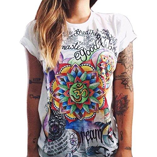 Ularma Damen T-Shirt weiß Baumwolle mit Schöne Blume Aufdruck