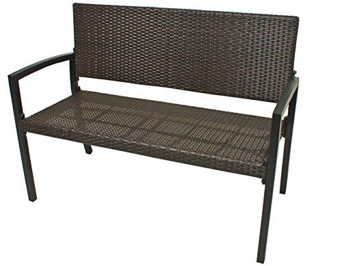 VARILANDO Gartenbank Parkbank Sitzbank 2-Sitzer aus Kunststoffgeflecht und Aluminium in der Farbe Coffee