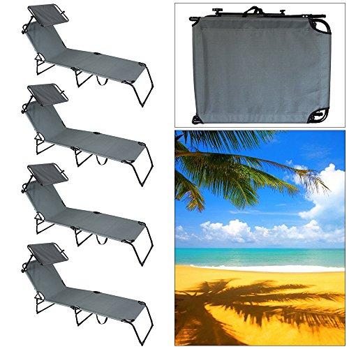 VINGO® 4X Strandliege Comfort Atmungsaktiv Sonnenliege Verstellbar mit Sonnenschutz Liege Grau