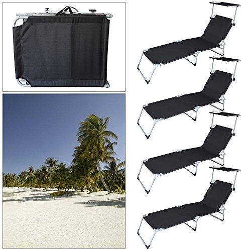 VINGO® 4XGartenliege Schwarz Klappbar mit Sonnendach Sonnenliege Camping 189cm Belastbar 110kg