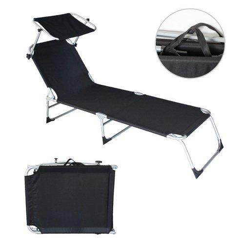 VINGO®2x Liegestuhl Gartenliege Freizeitliege Sonnenliege Strandliege Schwarz mit Sonnendach