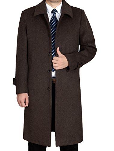 Vogstyle Herren Mantel Neu Wolljacke Lang Umlegekragen Wollmantel Warm Trenchcoat Business Windbreaker Überzieher