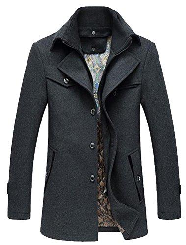 Vogstyle Herren Winter Mantel Jacke Klassischer Herrenmode Wollmäntel Wintermantel WärmeJacke Coat