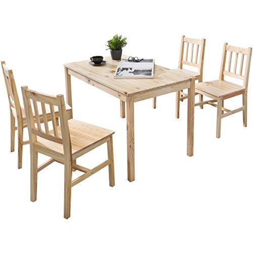 WOHNLING Esszimmer-Set EMIL 5 teilig Kiefer-Holz Landhaus-Stil 108 x 73 x 65 cm | Natur Essgruppe 1 Tisch 4 Stühle | Tischgruppe Esstischset 4 Personen | Esszimmergarnitur massiv…