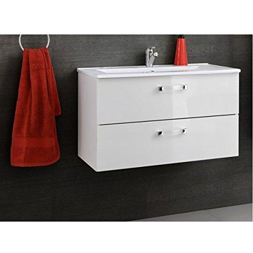 Waschbeckenunterschrank 'Justin WT 80' Waschtisch Waschbecken Badmöbel Weiß Hochglanz 80cm