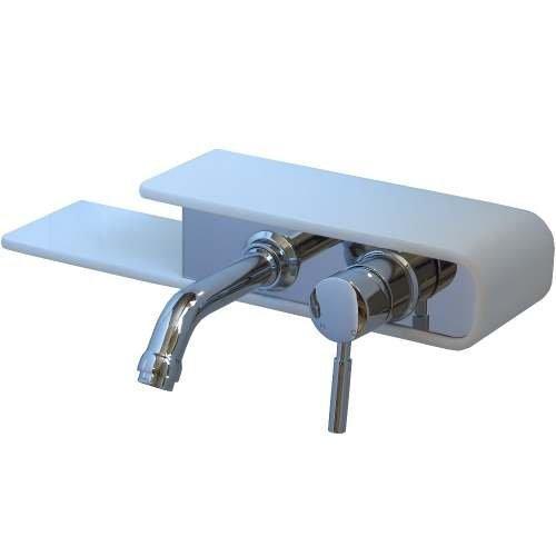 Waschtisch Waschbecken Wasserhahn Armatur Wandarmatur Einhebelmischer Bad Badarmatur Weiß GF103