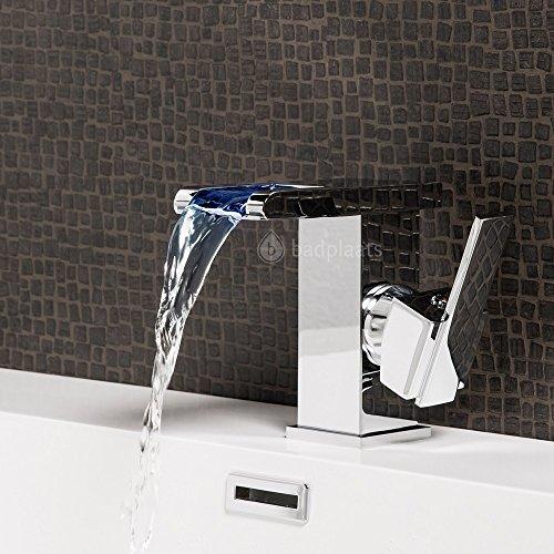 Wasserhahn Londen LED Wasserfall Waschtisch Armatur Waschtischarmatur Waschbecken Waschbeckenarmatur Badezimmer Badarmatur