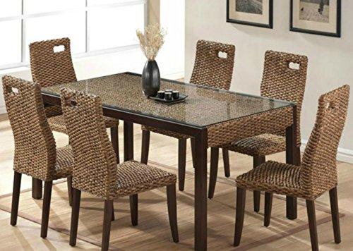 Wasserhyazinthen Esszimmer PISA Tisch 6 Stühle, 13 Teilig Akazienholz Massiv