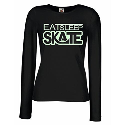 Weibliche langen Ärmeln T-Shirt Eat - Sleep - Skate - für Skater, Skate Longboard, Skateboard Geschenke