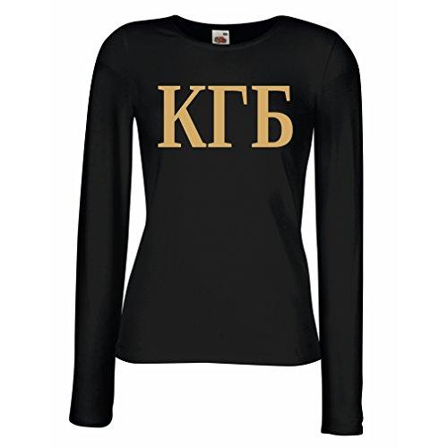 Weibliche langen Ärmeln T-Shirt Politisch - KGB, UdSSR - CCCP, Russisch, Русский