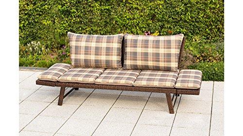 baumarkt direkt Gartenbank Daybed Rattan, Polyrattan, 172x64x78 cm, braun, inkl. Wendeauflagen 172 cm, braun