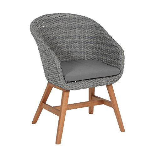 greemotion 128574 Rattansessel MADEIRA für Balkon, Garten & Terrasse-Rattanstuhl Outdoor Stuhl aus Rattan mit Auflage Polster-Lounge Sessel mit Holzbeinen, Grau, 6,2 x 7,2 x 4,5 cm
