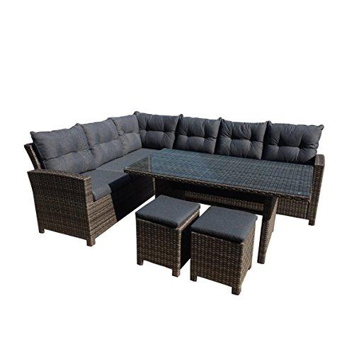 greemotion 129881 Rattan Lounge Set TESSIN-Loungemöbel 5teilig für Garten & Terrasse-Gartenmöbel anthrazit Loungeset mit Esstisch-Outdoor Möbel Garnitur, Grau, 20,5 x 10,5 x 9 cm