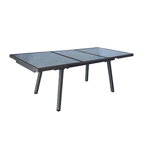 greemotion Gartentisch Malmö Spraystone grau, Outdoor Esstisch, Rattantisch mit Spraystone-Tischplatte, wetter- und witterungsfestes Polyethylengeflecht, besonders pflegeleicht, Maße ca. 140 x 80 x 74 cm
