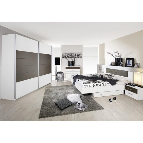 rauch Schlafzimmer Barcelona 6-tlg., weiß mit Absetzung lavagrau