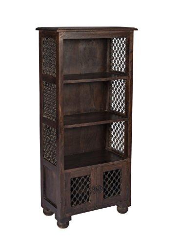 stylla London Sheesham massiv handgefertigt Traditionelle indische Jali Arbeit Vintage Stil Vitrine Bücherregal, Bücherregal, Holz, braun, 30,5x 55,88x 124.46cm