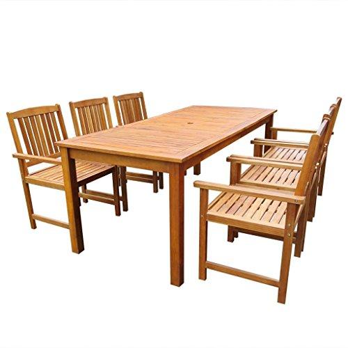 vidaXL 7-tlg. Gartenmöbel Set Sitzgruppe Essgruppe Massives Akazienholz Braun