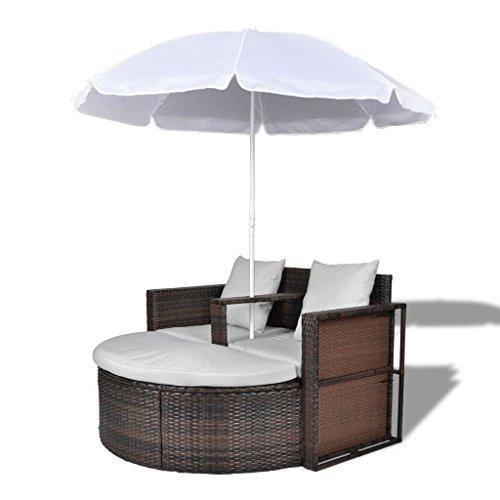 vidaXL Gartenlounge mit Sonnenschirm Poly Rattan Sonnenliege Gartenmöbel Liege