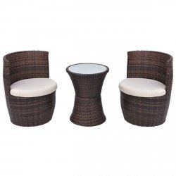 vidaXL Gartenmöbel-Set Sitzgruppe Balkonmöbel 5-tlg. Poly Rattan Schwarz/Braun