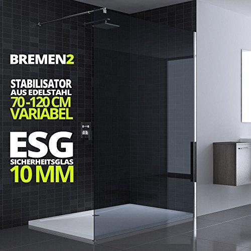 100x200 cm Luxus Duschwand aus Echtglas Bremen2VG, Stabilisator rund, 10mm ESG Sicherheitsglas dunkelgrau, inkl. Nanobeschichtung